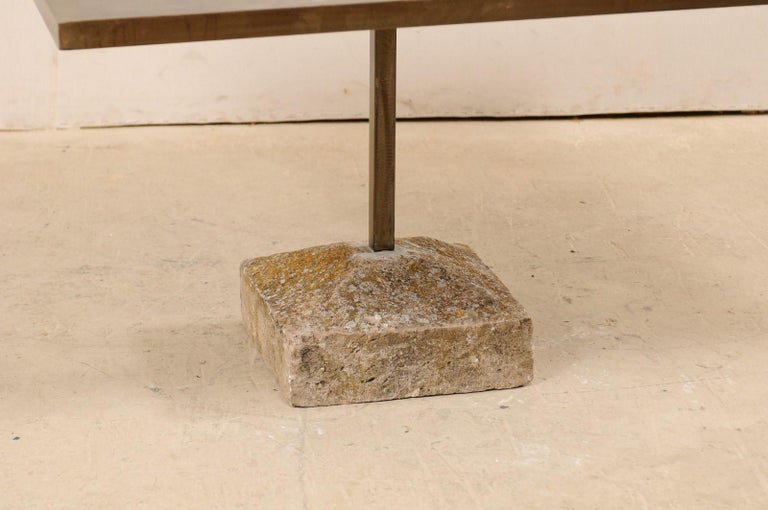 Artisan Made Custom Square Iron Top Table on Stone Plinth Base For Sale 1