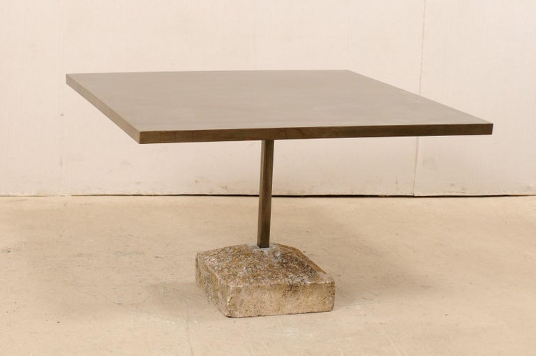 Artisan Made Custom Square Iron Top Table on Stone Plinth Base For Sale 3
