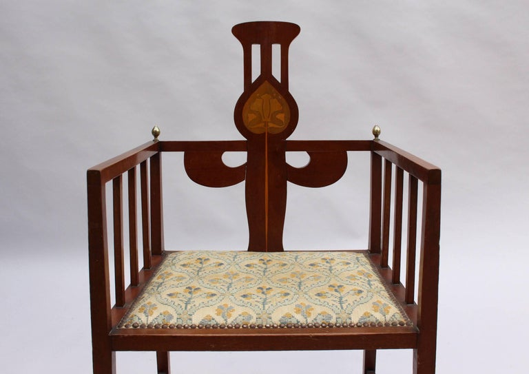 Arts and Crafts Fine Arts & Crafts Armchair by G M Ellwood, Made by J S Henry For Sale