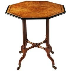 Arts & Crafts Burr Walnut Wood Octagonal Table Stamped Rough & Sons