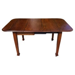 Arts & Crafts Oak Drop Leaf/Draw Leg, Extending Dining Table To Seat Six
