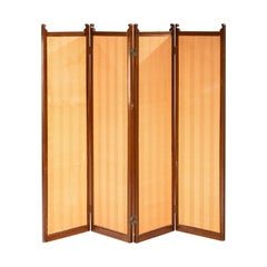 Attractive Late Victorian Mahogany Framed Four Fold Screen