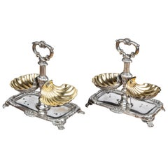 Attractive Pair of Late 19th Century Silver and Silver Gilt Table Salts