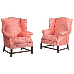 Attractive Pair of Modern Mahogany Framed Wing Chairs