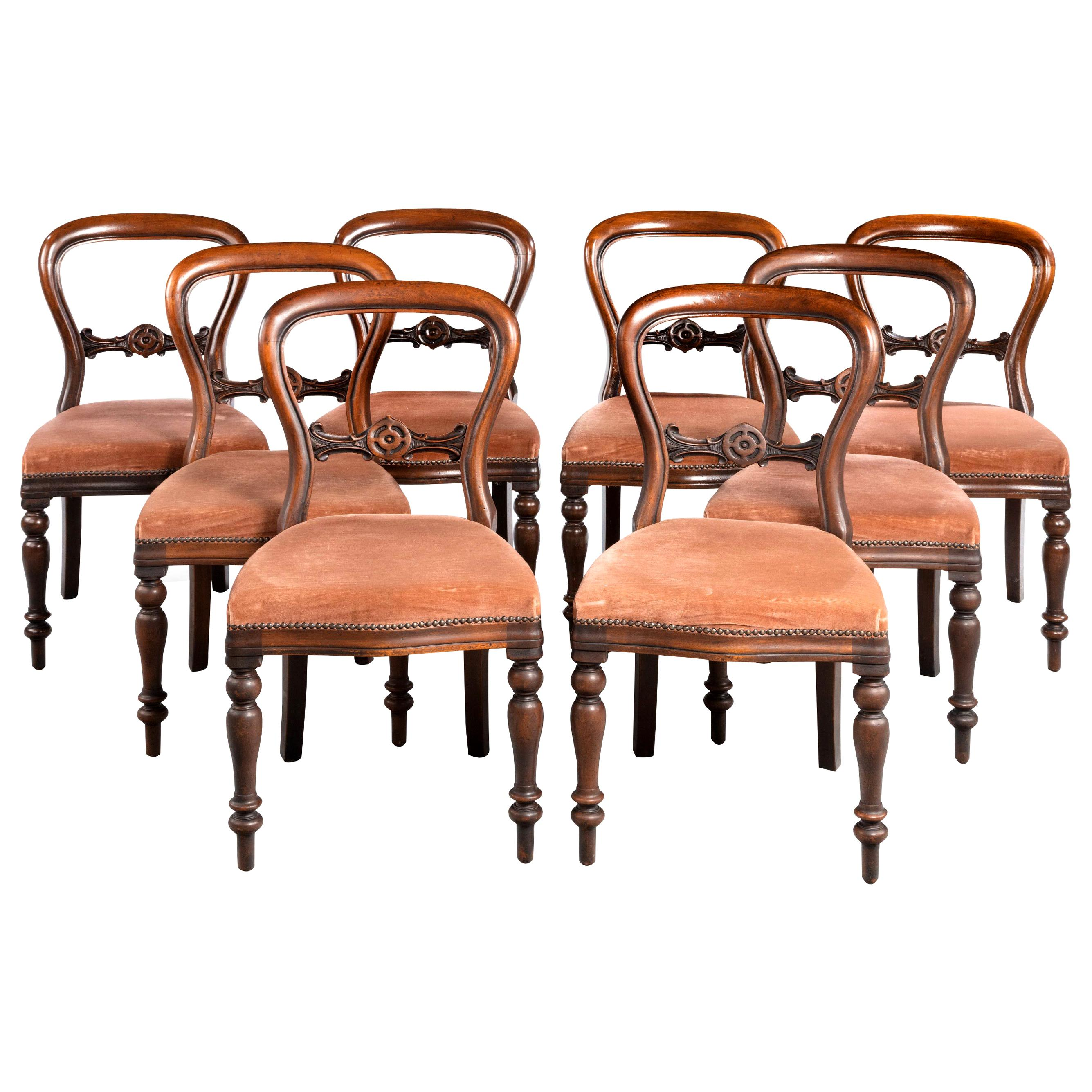 Attractive Set of Eight Late 19th Century Balloon Backed Chairs