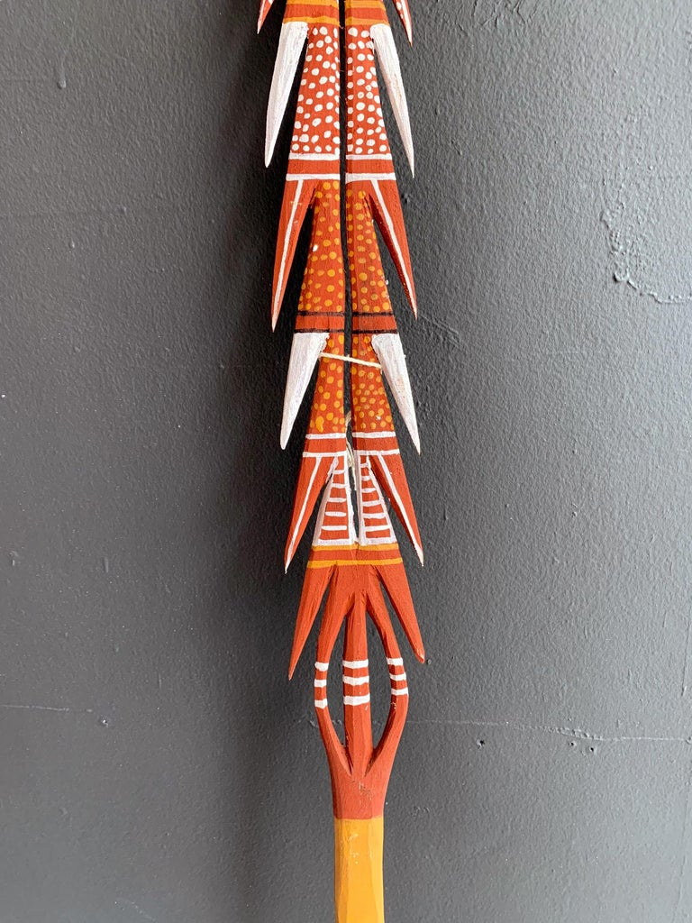 Tribal Australian Aboriginal Carved and Painted Spear from Melville Island For Sale