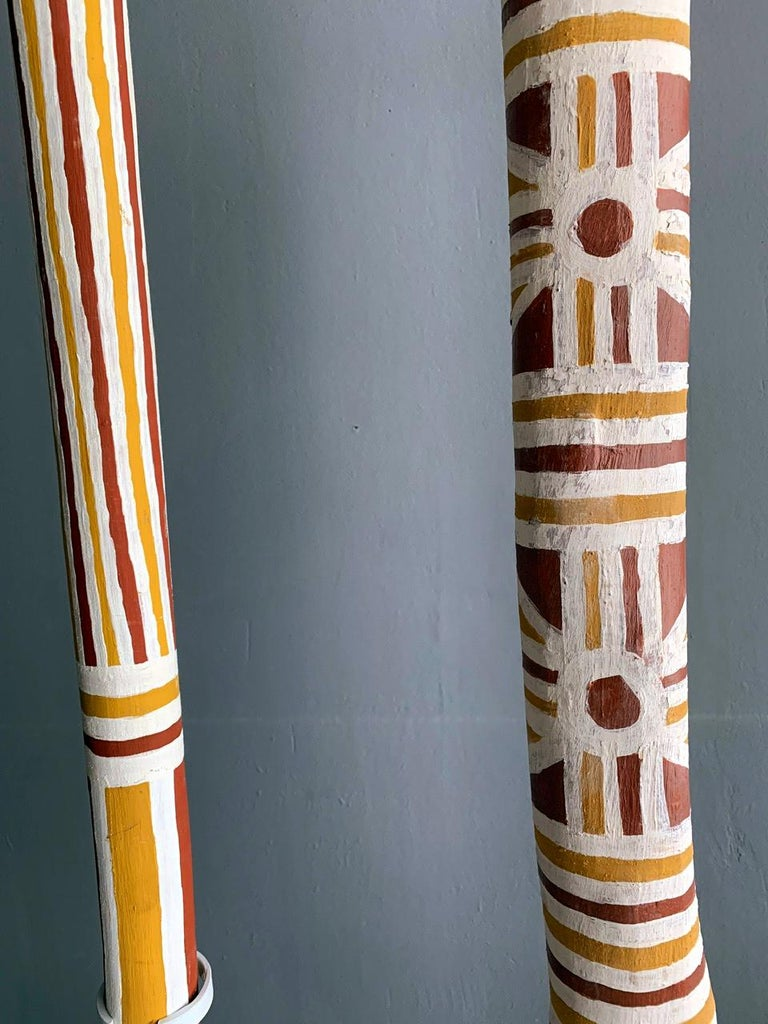 Wood Australian Aboriginal Painted TOTEM Pole from Elcho Island For Sale