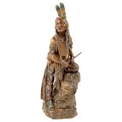 "Austrian Art Nouveau American Indian Bronze ""The Scout"" by, Carl Kauba"