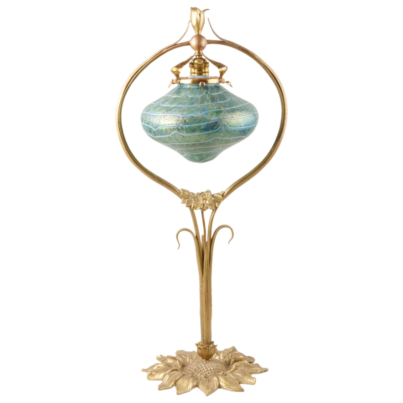 An Austrian Art Nouveau Desk Lamp with Pallme-Konig Art Glass Shade