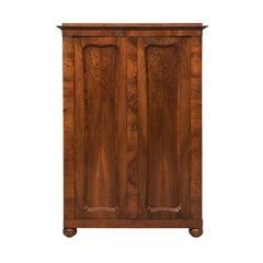 Austrian Biedermeier Walnut Wood Armoire Wardrobe Cabinet, circa 1830s