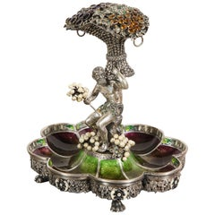 An Austrian / Viennese Silver, Enamel, and Gem-Set Tazza Centerpiece