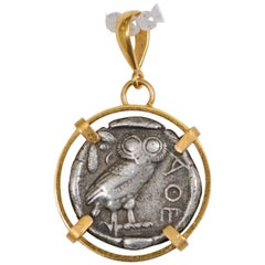 Authentic Greek Owl Tetradrachm Coin 'circa 430-420 BC' in 22-Karat Gold Pendant