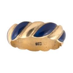 Blue Enamel and 18k Gold Eternity Band Ring