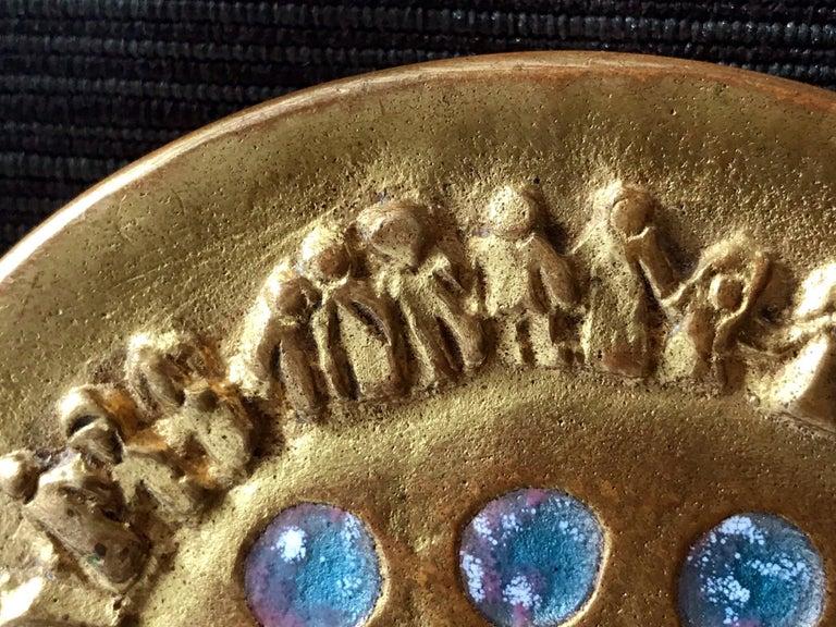 Enamel Bronze Poudrier Box by Line Vautrin For Sale