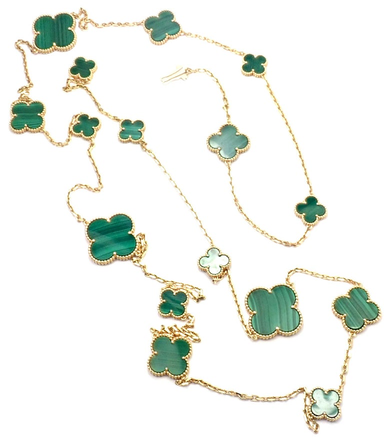 Van Cleef & Arpels Magic Alhambra Malachite 16 Motif Long Yellow Gold Necklace 2