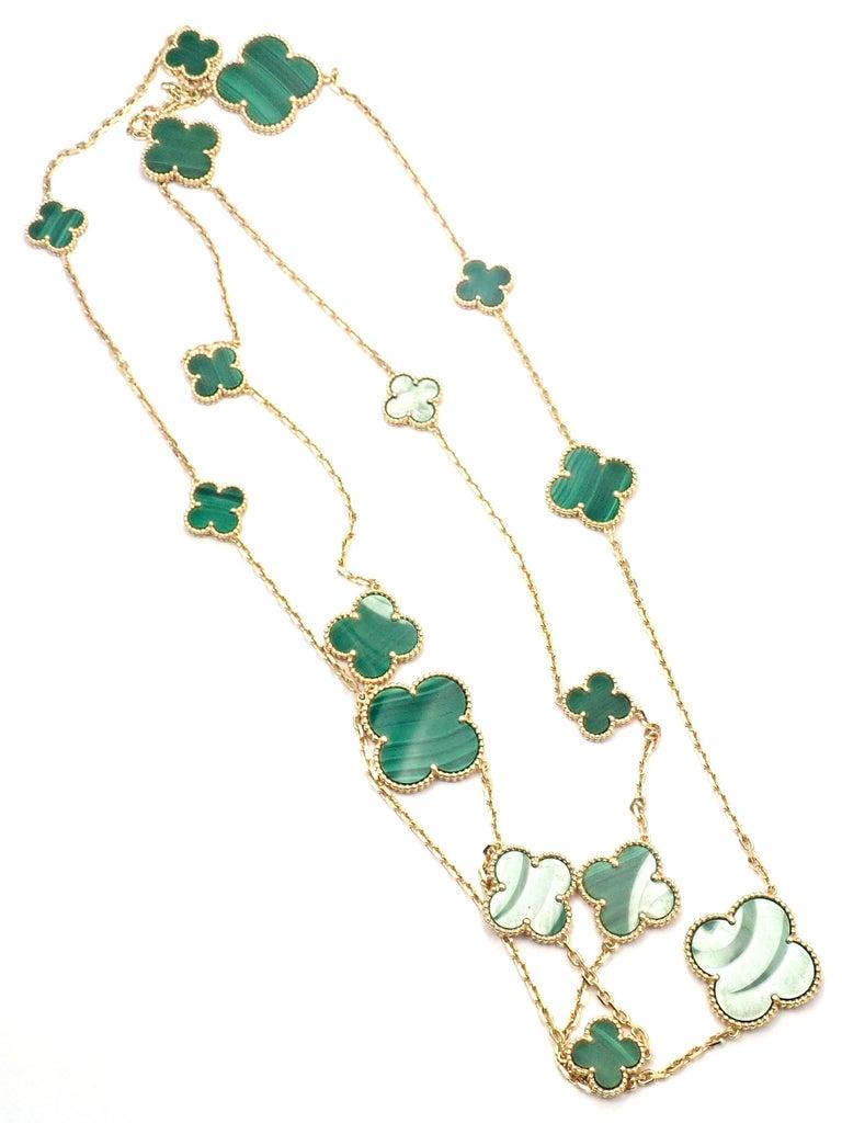 Uncut Van Cleef & Arpels Magic Alhambra Malachite 16 Motif Long Yellow Gold Necklace