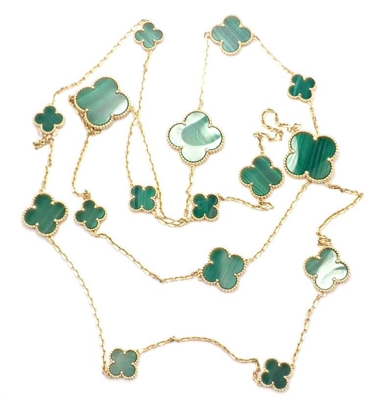 Van Cleef & Arpels Magic Alhambra Malachite 16 Motif Long Yellow Gold Necklace In Excellent Condition In Holland, PA