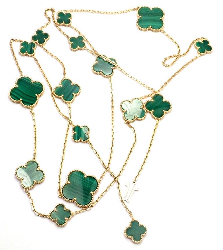 Van Cleef & Arpels Magic Alhambra Malachite 16 Motif Long Yellow Gold Necklace 1