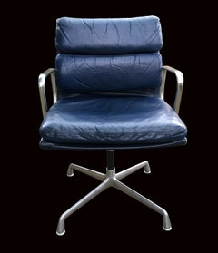 Eames Blue Leather Soft Pad Swivel Armchair for Herma Miller
