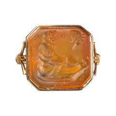 Early 18th Century Octagonal Carnelian Saturn Intaglio Ring