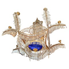 Early 19th Century Russian Crystal Gilt Bronze and Blue Glass Chandelier