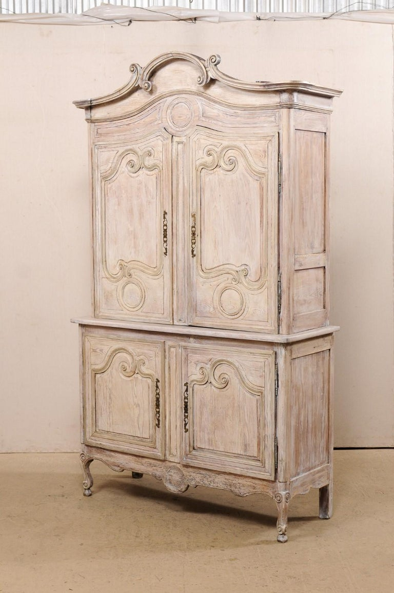 Early 19th C. French Buffet à Deux-Corps w/Scrolled Carvings & Pediment Top For Sale 6