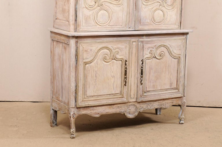 Wood Early 19th C. French Buffet à Deux-Corps w/Scrolled Carvings & Pediment Top For Sale