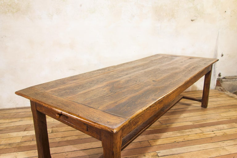 Early 19th Century Oak French Farmhouse Refectory Table 1