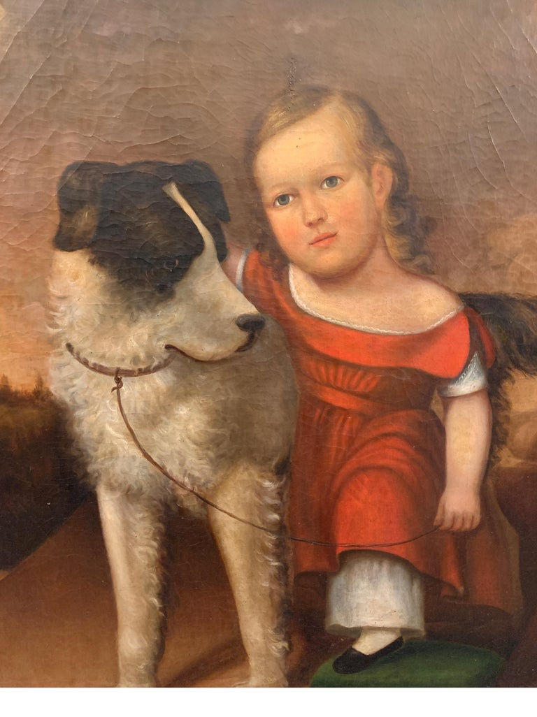 Early 19th Century Oil on Canvas of Child with Dog For Sale 4