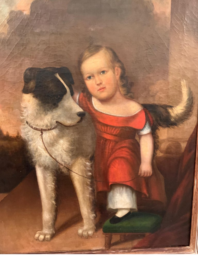 Early 19th Century Oil on Canvas of Child with Dog For Sale 5