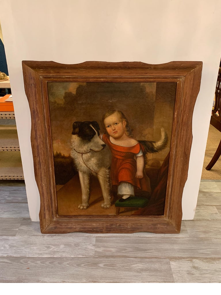 American Empire Early 19th Century Oil on Canvas of Child with Dog For Sale