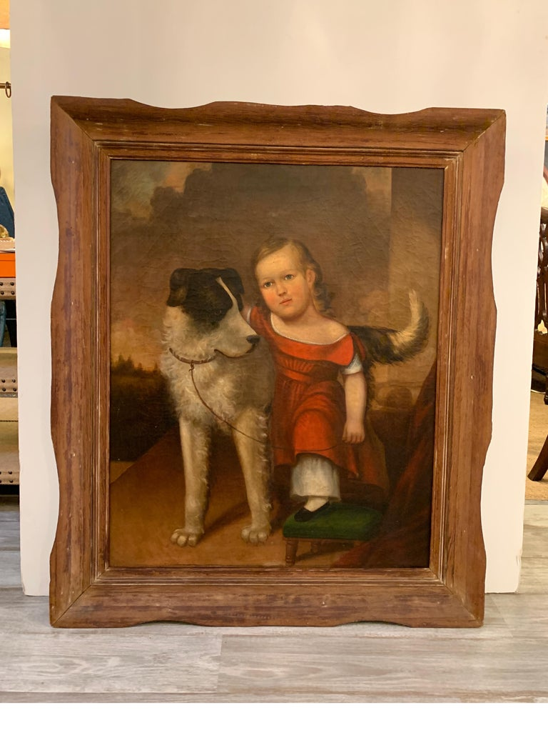American Early 19th Century Oil on Canvas of Child with Dog For Sale