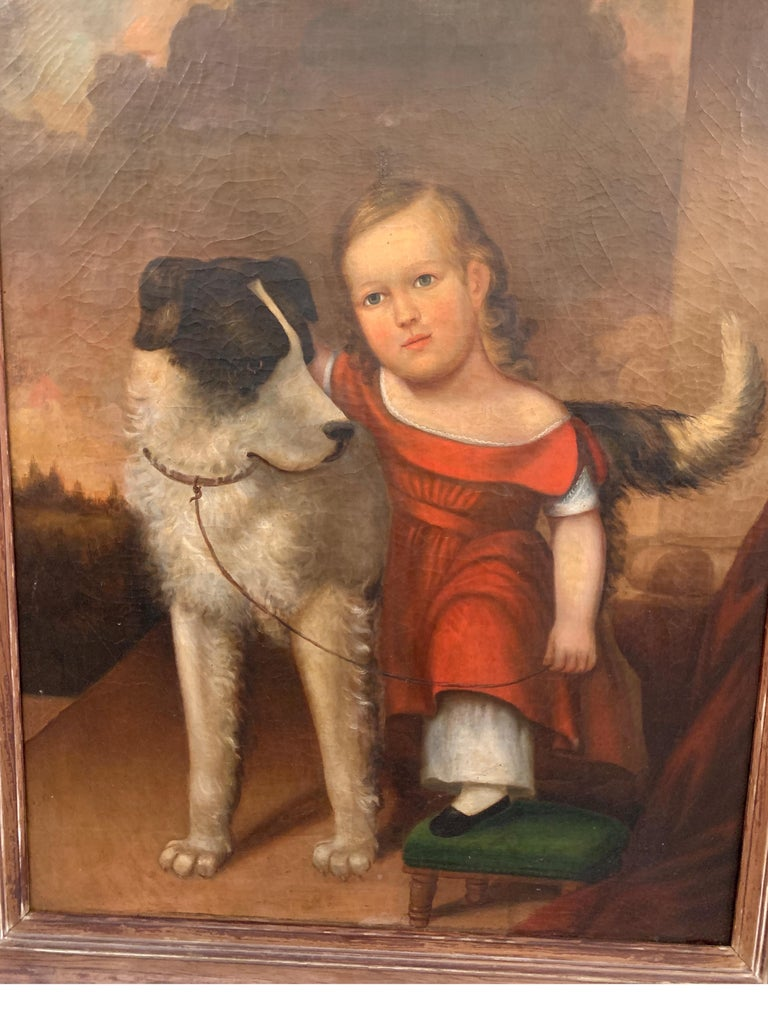Painted Early 19th Century Oil on Canvas of Child with Dog For Sale