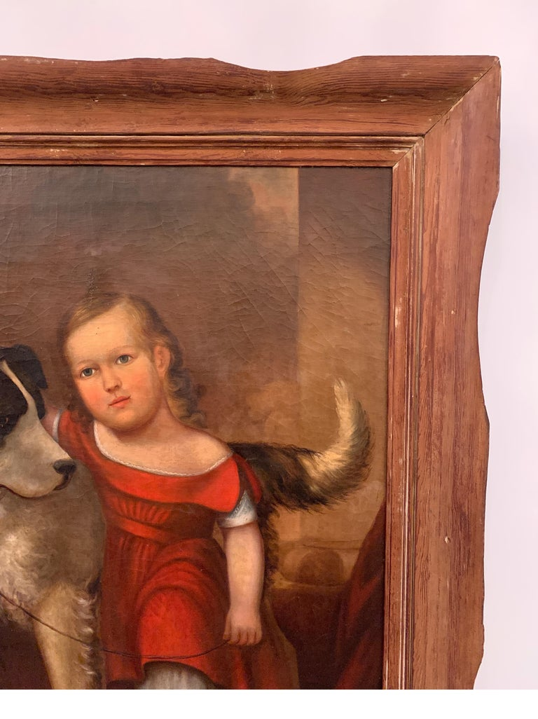 Early 19th Century Oil on Canvas of Child with Dog For Sale 1