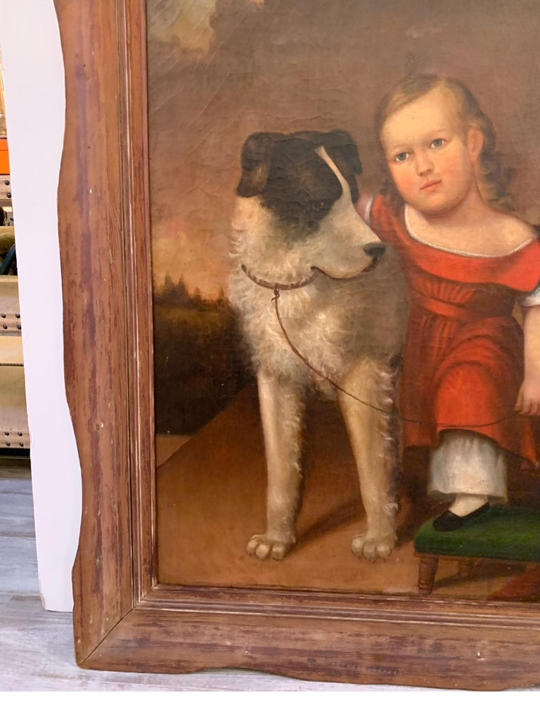 Early 19th Century Oil on Canvas of Child with Dog For Sale 2