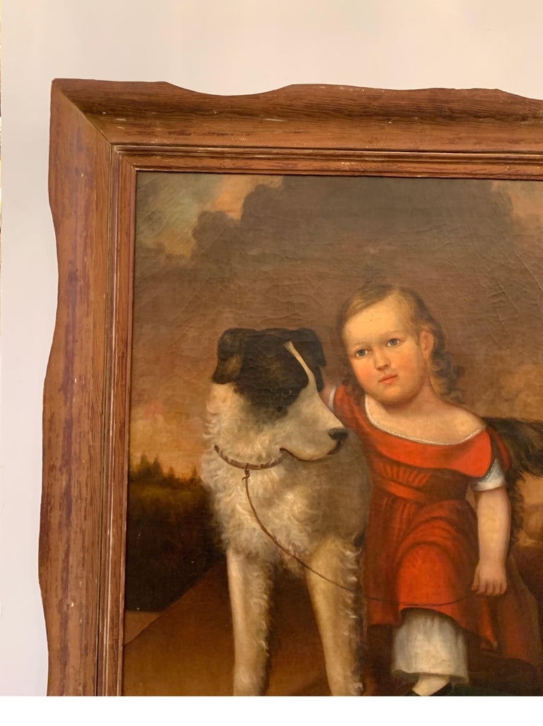 Early 19th Century Oil on Canvas of Child with Dog For Sale 3