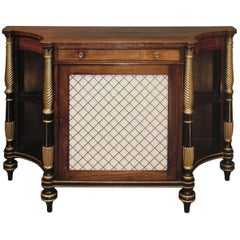 Early 19th Century Regency Rosewood, Giltwood and Black Painted Chiffonier