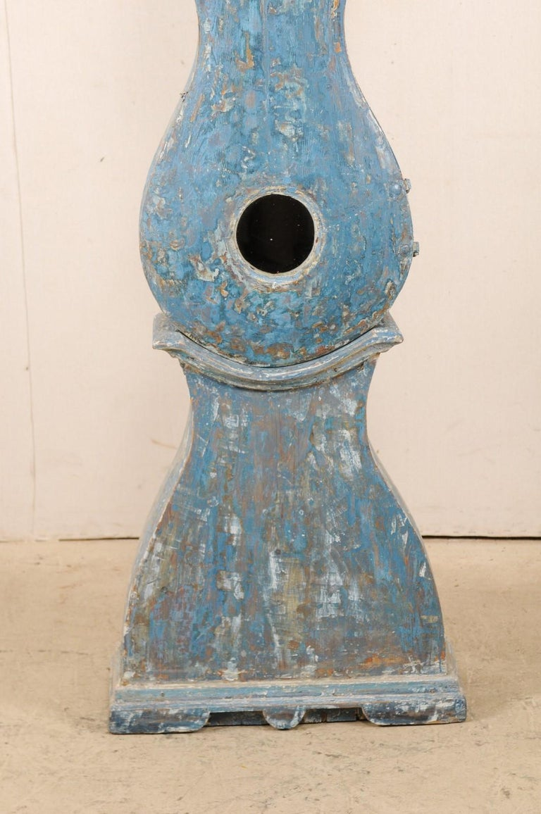 Early 19th Century Swedish Grandfather Clock with Original Blue Color For Sale 1