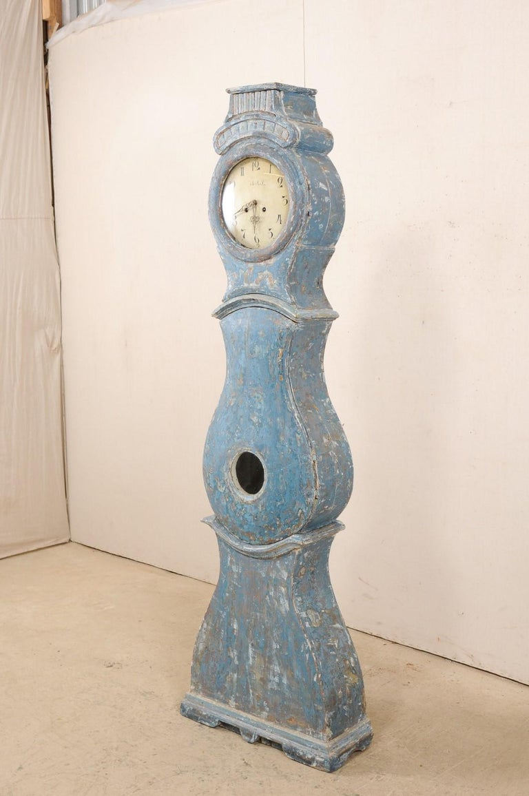 Early 19th Century Swedish Grandfather Clock with Original Blue Color For Sale 2