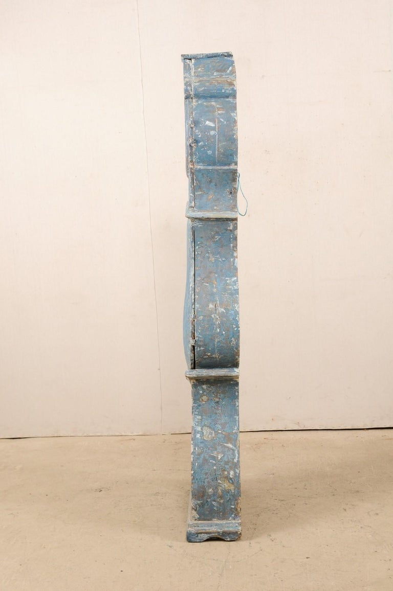 Early 19th Century Swedish Grandfather Clock with Original Blue Color For Sale 4