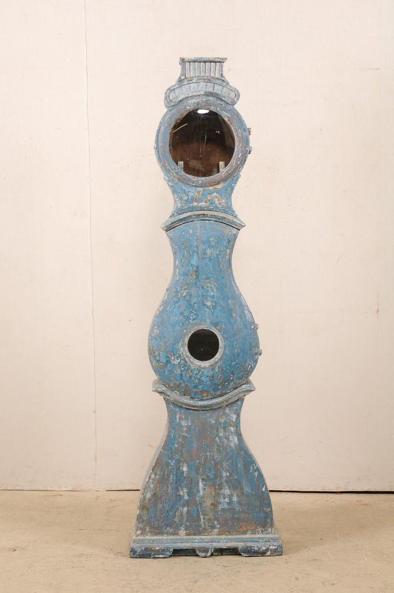 Early 19th Century Swedish Grandfather Clock with Original Blue Color For Sale 5