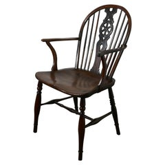 Early 19th Elm Wheel Back Carver Chair