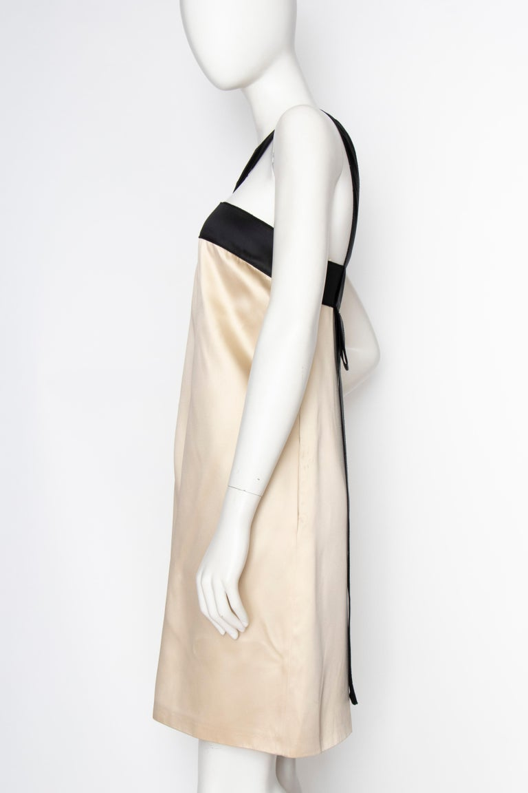 Beige An Early 2000s Vintage D&G by Dolce & Gabbana Ivory Satin Cocktail Dress For Sale