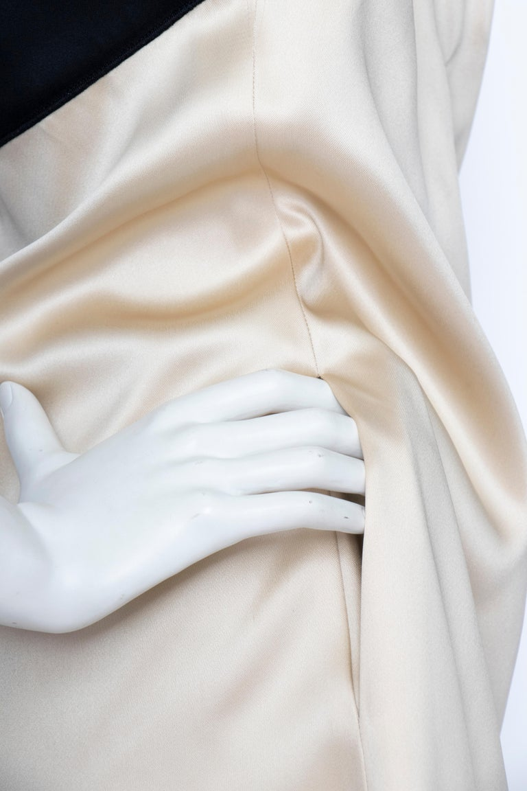 An Early 2000s Vintage D&G by Dolce & Gabbana Ivory Satin Cocktail Dress For Sale 1