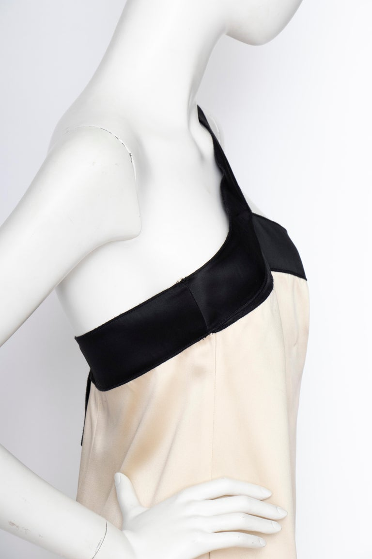 An Early 2000s Vintage D&G by Dolce & Gabbana Ivory Satin Cocktail Dress For Sale 3
