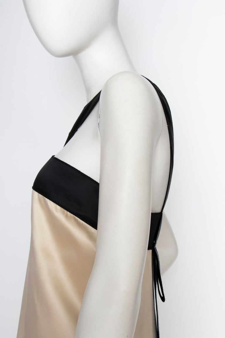 An Early 2000s Vintage D&G by Dolce & Gabbana Ivory Satin Cocktail Dress For Sale 4