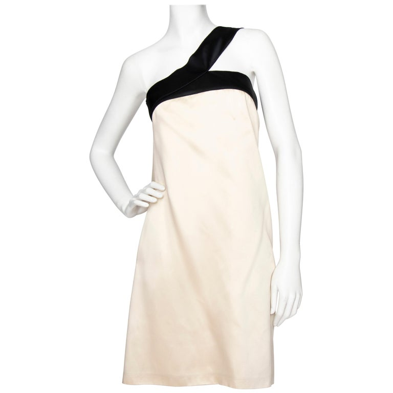 An Early 2000s Vintage D&G by Dolce & Gabbana Ivory Satin Cocktail Dress For Sale