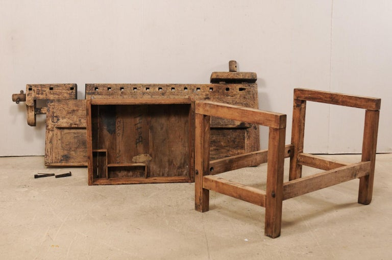 Early 20th Century Wooden Work Bench- Would Make Unique Extra Kitchen Work Space For Sale 7