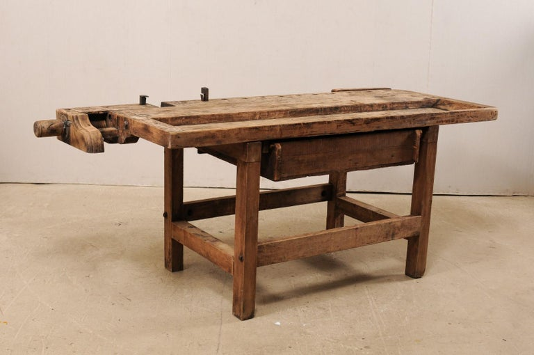 American Early 20th Century Wooden Work Bench- Would Make Unique Extra Kitchen Work Space For Sale