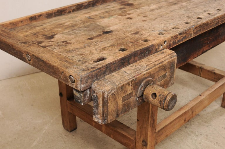 Early 20th Century Wooden Work Bench- Would Make Unique Extra Kitchen Work Space In Good Condition For Sale In Atlanta, GA